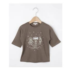 【80-130cm】オーガニックコットン5分袖ハート/香水Tシャツ (タバコブラウン(054))