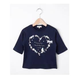 【80-130cm】オーガニックコットン5分袖ハート/香水Tシャツ (ネイビー(093))