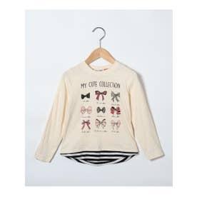 シューグー キッズ SHOO-LA-RUE(Kids) 【90-130cm】レイヤード風イラスト柄ロングTシャツ (アイボリー)
