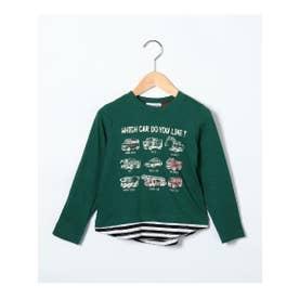シューグー キッズ SHOO-LA-RUE(Kids) 【90-130cm】レイヤード風イラスト柄ロングTシャツ (グリーン)