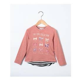 シューグー キッズ SHOO-LA-RUE(Kids) 【90-130cm】レイヤード風イラスト柄ロングTシャツ (ピンク)