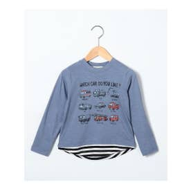 シューグー キッズ SHOO-LA-RUE(Kids) 【90-130cm】レイヤード風イラスト柄ロングTシャツ (ライトブルー)