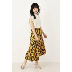 アシンメトリーサテンスカート 柄YEL5