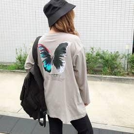 バタフライプリントルーズTシャツ (グレージュ1)