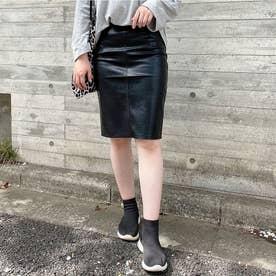 レディライク LADY LIKE バックスリットフェイクレザースカート (ブラック)