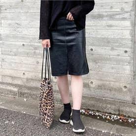 レディライク LADY LIKE 紐ベルト付きフェイクレザースカート (ブラック)
