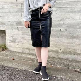 レディライク LADY LIKE フロントジップフェイクレザースカート (ブラック)