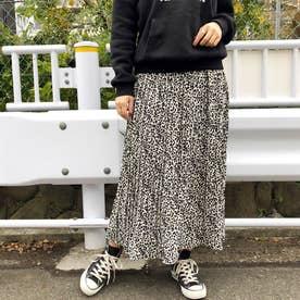 柄プリーツスカート (ホワイトブラック)
