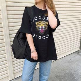 ヒョウプリントルーズTシャツ/ロンT (ブラック)