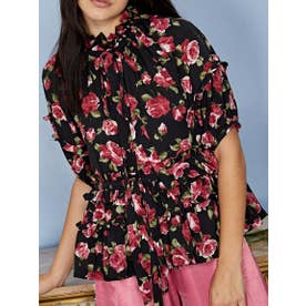 Regal Rose Ruffle Blouse (BLACK)