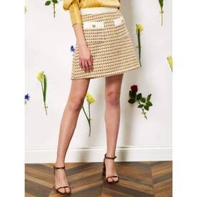 Bird Song Tweed Mini Skirt (YELLOW)