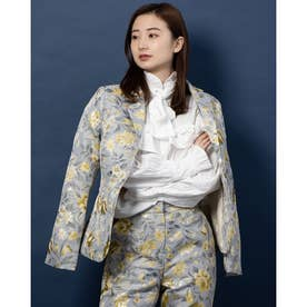 Domestic Jacquard Fitted Blazer (BLUE)