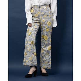 Domestic Jacquard Flare Trousers (BLUE)