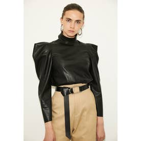 F/LEATHER POINT SHOULDER TOPS (ブラック)