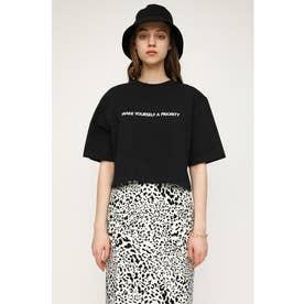 WIDE S/L CROPPED LOGO Tシャツ BLK