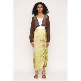 DAZED DYE SATIN SHIRRING スカート M/YEL7