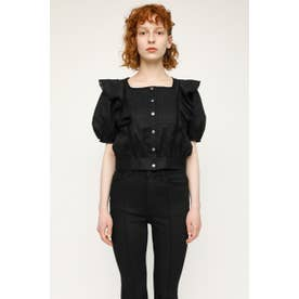 PUFF SLEEVE FRILL COTTON トップス BLK