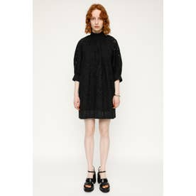 STAND GATHER COTTON LACE チュニック BLK