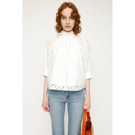STAND GATHER COTTON LACE トップス WHT