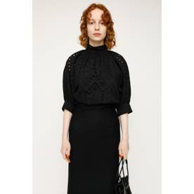 STAND GATHER COTTON LACE トップス BLK