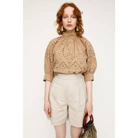 STAND GATHER COTTON LACE トップス BEG