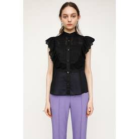 COTTON LACE FRILL トップス BLK