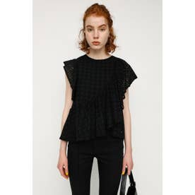 EYELET LACE FRILL トップス BLK