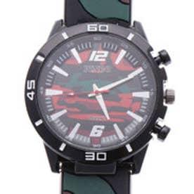 迷彩柄ラバーベルトのミリタリー調腕時計 RED (RED)
