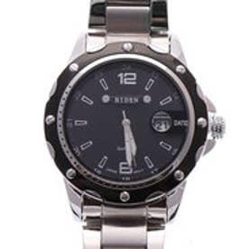 バイデン BIDEN 日常生活防水 装飾ベゼルのデザインウォッチ ルーペ風 日付カレンダーのメタルベルト腕時計 BLK (BLK)