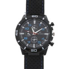 アクセントカラーが目を引く ラバーベルトミリタリー調の腕時計 AV028-BLU (BLU)