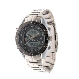 アナログ&デジタル ダイバーズウォッチ風 クロノグラフ トリプルカレンダー メンズ腕時計 HPFS9401-SVBK (SVBK)