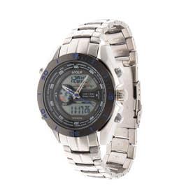 アナログ&デジタル ダイバーズウォッチ風 クロノグラフ トリプルカレンダー メンズ腕時計 HPFS9401-SVBL (SVBL)