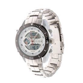アナログ&デジタル ダイバーズウォッチ風 クロノグラフ トリプルカレンダー メンズ腕時計 HPFS9401-SVWH (SVWH)