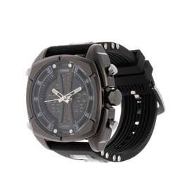 アナログ&デジタル ダイバーズウォッチ風 クロノグラフ トリプルカレンダー メンズ腕時計 HPFS9501-BKBK (BKBK)