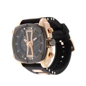 アナログ&デジタル ダイバーズウォッチ風 クロノグラフ トリプルカレンダー メンズ腕時計 HPFS9501-PGD (PGD)