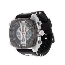 アナログ&デジタル ダイバーズウォッチ風 クロノグラフ トリプルカレンダー メンズ腕時計 HPFS9501-SVBK (SVBK)