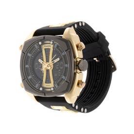 アナログ&デジタル ダイバーズウォッチ風 クロノグラフ トリプルカレンダー メンズ腕時計 HPFS9501-YGD (YGD)