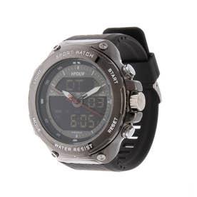 アナログ&デジタル ダイバーズウォッチ風 クロノグラフ トリプルカレンダー メンズ腕時計 HPFS9402-BKBK (BKBK)