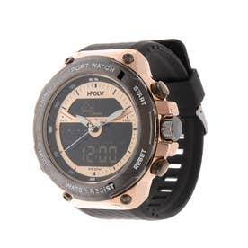 アナログ&デジタル ダイバーズウォッチ風 クロノグラフ トリプルカレンダー メンズ腕時計 HPFS9402-PGD (PGD)