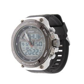 アナログ&デジタル ダイバーズウォッチ風 クロノグラフ トリプルカレンダー メンズ腕時計 HPFS9402-SVBK (SVBK)