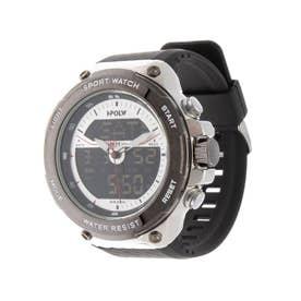アナログ&デジタル ダイバーズウォッチ風 クロノグラフ トリプルカレンダー メンズ腕時計 HPFS9402-SVSV (SVSV)