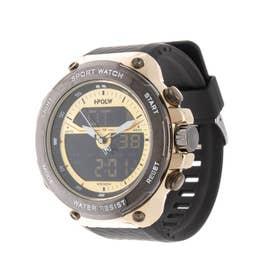 アナログ&デジタル ダイバーズウォッチ風 クロノグラフ トリプルカレンダー メンズ腕時計 HPFS9402-YGD (YGD)