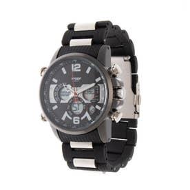 アナログ&デジタル ダイバーズウォッチ風 クロノグラフ トリプルカレンダー メンズ腕時計 HPFS9801-BKBK (BKBK)