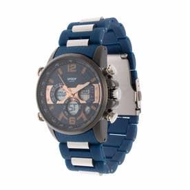 アナログ&デジタル ダイバーズウォッチ風 クロノグラフ トリプルカレンダー メンズ腕時計 HPFS9801-BKBL (BKBL)