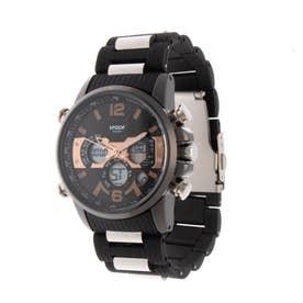 アナログ&デジタル ダイバーズウォッチ風 クロノグラフ トリプルカレンダー メンズ腕時計 HPFS9801-BKPG (BKPG)