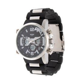 アナログ&デジタル ダイバーズウォッチ風 クロノグラフ トリプルカレンダー メンズ腕時計 HPFS9801-SVBK (SVBK)