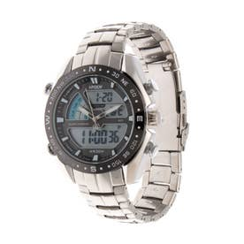 アナログ&デジタル ダイバーズウォッチ風 クロノグラフ トリプルカレンダー メンズ腕時計 HPFS9405-SVBK (SVBK)