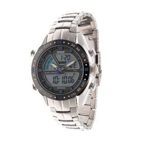 アナログ&デジタル ダイバーズウォッチ風 クロノグラフ トリプルカレンダー メンズ腕時計 HPFS9405-SVBL (SVBL)