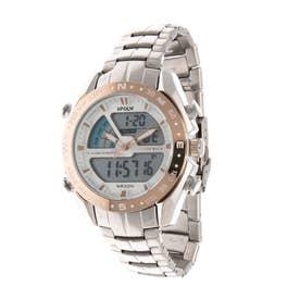 アナログ&デジタル ダイバーズウォッチ風 クロノグラフ トリプルカレンダー メンズ腕時計 HPFS9405-SVPG (SVPG)
