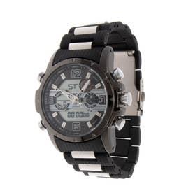 アナログ&デジタル ダイバーズウォッチ風 クロノグラフ トリプルカレンダー メンズ腕時計 HPFS9507-BKBK (BKBK)